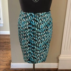 Ann Taylor Size 8 Fully Lined Blue Animal Print